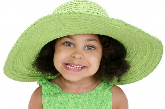 Beautiful Three Year Old Girl In Big Green Hat